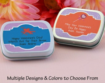 Valentines Ideas - Classroom Valentines - Mint Tins - Favor Tins - Candy Tins - Valentines Favors - Valentine's Day Favors - Set of 10