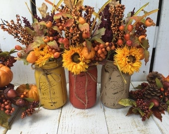 FALL MASON JARS/Set of 3/Fall Decor/Centerpiece/Thanksgiving/Autumn decor/Fall Table Decor/Wedding/Painted Jars/Pumpkin/Mantle/Fall Vase