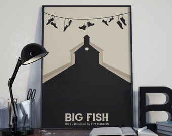 Tim Burton's 'BIG FISH' minimalist A3 art print - framed or unframed options available