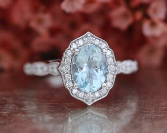 Vintage Floral Oval Aquamarine Engagement Ring in 14k White Gold Scalloped Diamond Wedding Band 8x6mm Oval Cut Gemstone Anniversary Ring