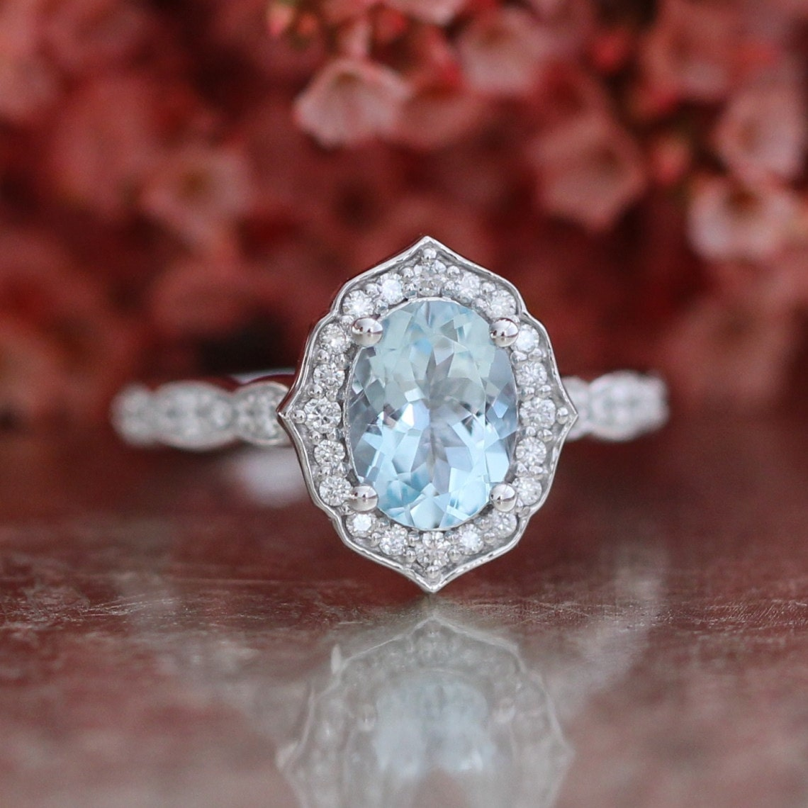 vintage floral oval aquamarine engagement ring in 14k white. Black Bedroom Furniture Sets. Home Design Ideas