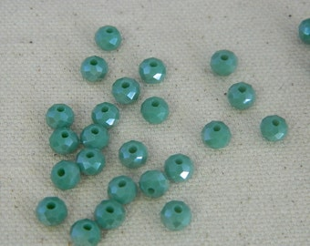 6x4mm Glass Faceted Rondelle Beads - Viridian Green Matte AB Rondelle Beads - 25 Beads