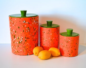 Vintage Orange and Green Ceramic Splatterware Canister Set