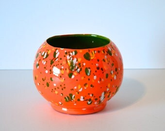 Vintage Ceramic Orange and Green Splatterware Vessel