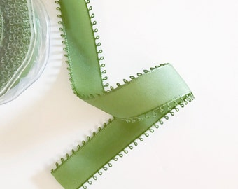 Moss Green Loop Edge Ribbon