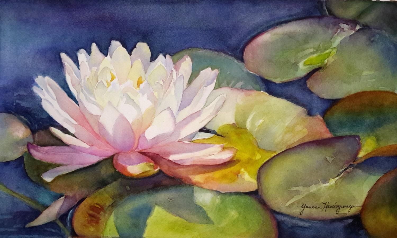 Waterlilie Painting White Lotus-Original Watercolor Painting