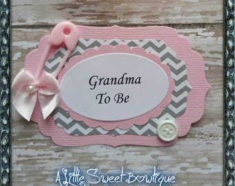 Pink & Grey Chevron Grandma To Be Corsage Baby Shower Guest Corsage Mommy to Be Corsage