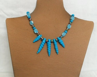 Blue/Turquoise Polymer Necklace - Unique Handmade Necklace