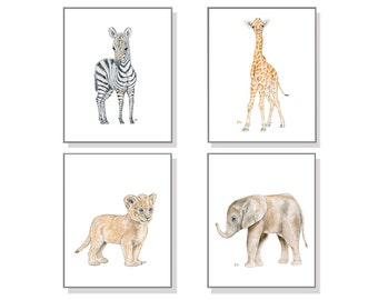Safari Nursery Decor Nursery Wall Art Nursery Art Nursery Prints Baby Animal Childrens Art Neutral Watercolors Elephant Giraffe Zebra Lion 4