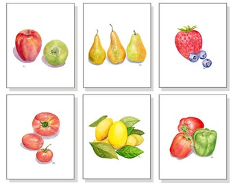 Kitchen Art Kitchen Prints Kitchen Paintings Kitchen Wall Decor Kitchen Wall Art Kitchen Watercolor Painting Fruit Vegetable Print Set of 6.