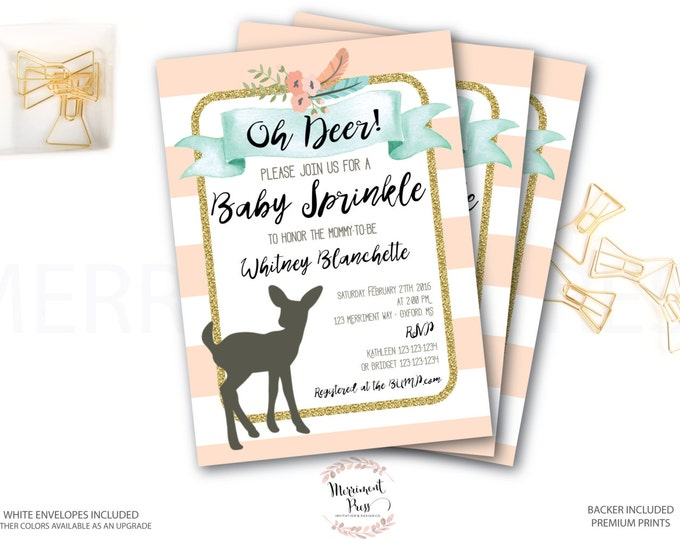 Oh Deer Baby Sprinkle Invitation // Oh Deer // Fawn Invitation // It's a Girl // Peach // Mint // Gold Glitter // OXFORD COLLECTION