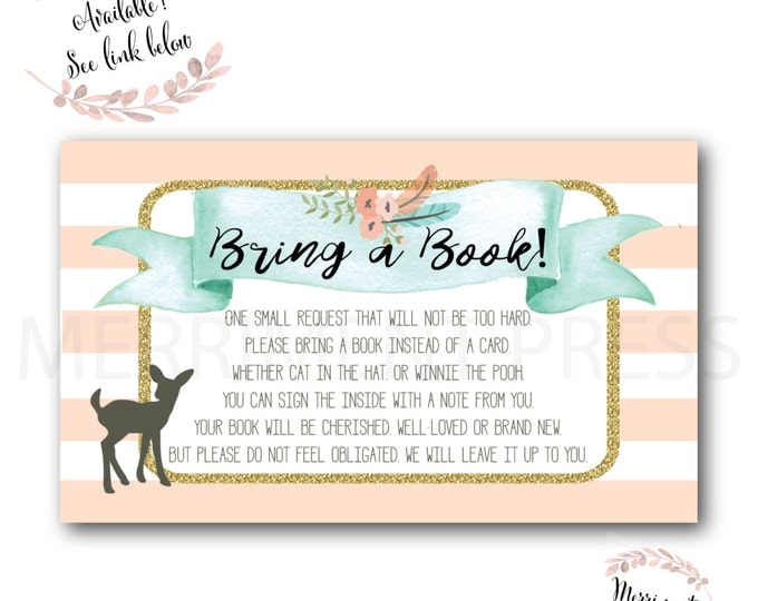 Deer Bring a Book // Oh Deer // Fawn // Bring a Book instead of a Card // Woodland // Peach // Mint // Printed // OXFORD COLLECTION