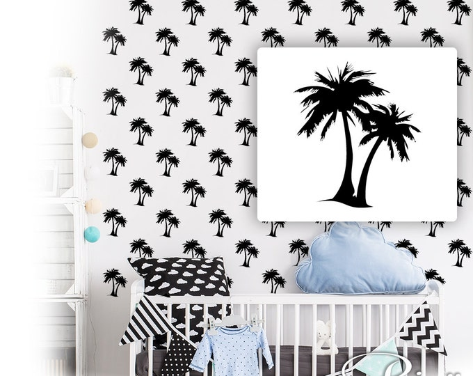 Palm tree Decals (20x) Pattern Wall art palm tree vinyl stickers coconut tree bedroom FREE SHIPPING mural nursery south tropical beach decor