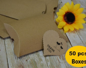 Set 50 pillow boxes Kraft Pillow Shaped Boxes, Gift Boxes, Favor Boxes,