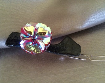 Small Gourd Barrette:  Czech Glass Silver Pink Violet