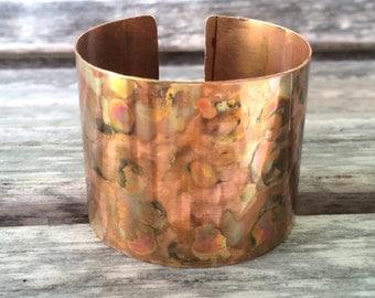 Wide Flamed Painted Copper Cuff Bracelet | Spot Me Copper Cuff Bracelet for Petite to Large Wrists | Boho Copper Cuff Bracelet