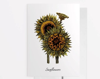 Sunflower Card, Sunflower Greeting Card, Flower Note Card, Nature Note Card, Sunny Greeting Card, Good Vibes, Zentangle Sunflower 1014A