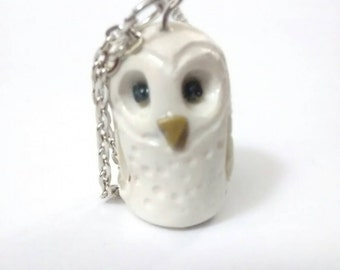 Hedwig Harry Potter owl, charm necklace. Polymer clay Owl Barn owl, pendant
