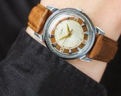 """Mid-century gents watch """"Kirovskie"""" – rare soviet mechanical watch – tan leather watch – vintage men's watches – gift for him USSR 50s"""