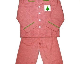 Hand Smocked Boy's Red Gingham Christmas Tree Pajamas