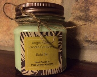 Poached pear - 8oz square mason jar - soy candle - heavy scented