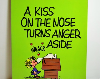 Peanuts Parade Book, A Kiss On The Nose Turns Anger Aside, Snoopy, Charlie Brown, Comic Strip. Woodstock, Funny Paper Charles Schulz