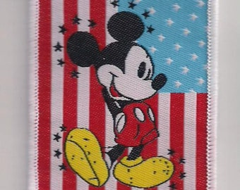 MICKEY MOUSE On Flag Sew on patch 2 3/4 X 2