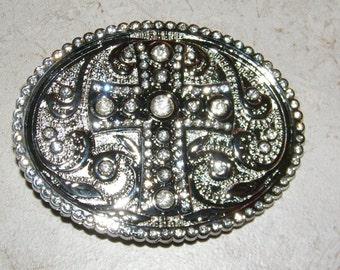 Silver Ornate Cross Belt Buckle With Clear Rhinestones