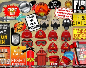 Firefighters Photo Booth Props, Fireman Party, Firefighter Party Props, Fire Department Theme, fdny, INSTANT DOWNLOAD, DIY Printable Props