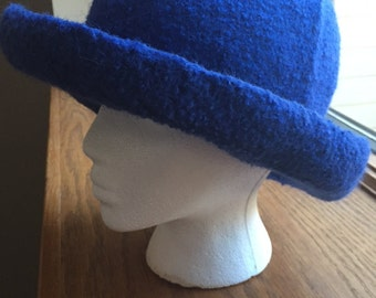 Handknit and felted wool hat