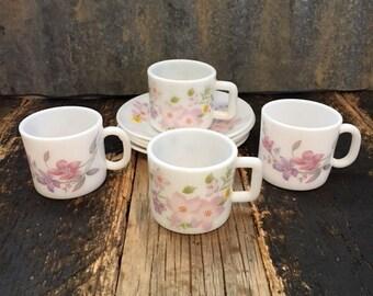 Vintage La Opala Milk Glass Tea Set 4/set