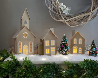 Christmas Village, Foldable, Putz Village, Christmas Decor, Kraft Christmas Village