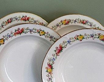 4 Royal Cauldon Antique Porcelain Soup Bowls Pink Roses China