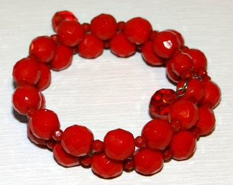 Bracelet Faceted Red Glass Beads make up this Lovely Memory Wire Bracelet - It will fit all sizes