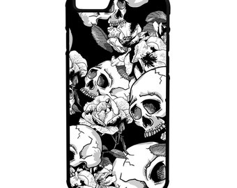 Skulls & Flowers iPhone Galaxy Note LG HTC Hybrid Rubber Protective Case