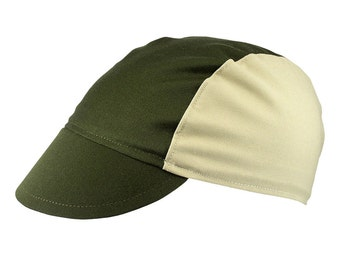 Olive/beige cotton cycling cap - handmade cap; bike cap; bicycle cap; cotton cap; cycling clothes; bike wear
