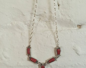 Vintage Native Navajo Sterling Silver & Coral Necklace