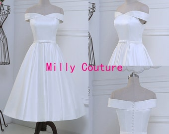 off shoulders tea length pin up wedding dress, rockabilly wedding dress