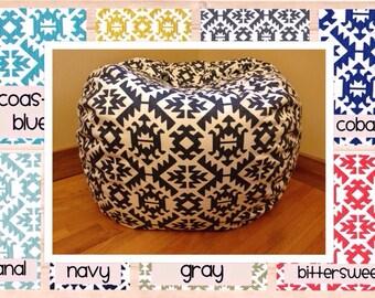 Bean Bag Chair Cover. PAWNEE Reader's Nest Bean Bag Chair COVER ONLY. Teepee Beanbag chair.  Floor Cushion.   Stuffed Animal Storage