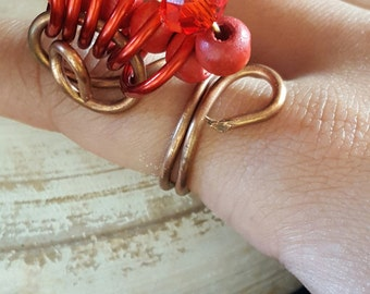 COPPER BEADED RING