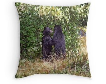 Bear Cushion, Fathers Day Gift, Bear Pillow, Animal Decor, Black Bear, Bear Throw Pillow,Animal Cushion,Animal Pillow,Nature Pillow,Bear Hug