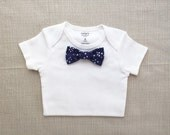 Navy Blue Floral - Bow Tie BodySuit w/ Snap-On Bowtie: 1 Bodysuit +1 Bowtie Only! Interchangable Bow Tie. Spring Baby Shower