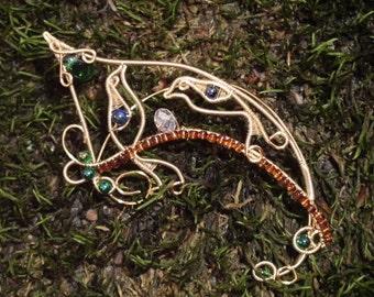 Nightingale Elf Ears, elf ears with birds, nature jewelry, elven ears, woodland elf, no piercing earrings, cosplay, elvish jewelry