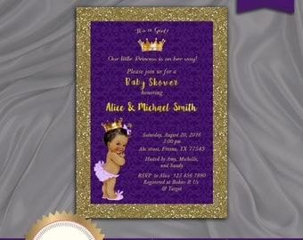 Princess Baby Shower Invitation, Little Princess Baby Shower Invite, Royal Baby Girl Invitation, Purple, Gold - Printable, Digital file