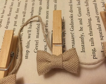 Mini Burlap Ribbon Clothespin-Set of 4-Wedding-Decor-Projects-Photo Lines-Gift Toppers
