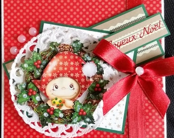 "card scrap, 3d toread ""Poya in the holly wreath"""