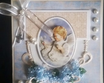 great card scrap, 3d Angel with forget-me-nots