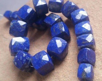 "133ct AA Genuine Natural Lapis Lazuli Faceted Square Cube Beads 7"" Strand Free Ship LL3T4F0004 Lapiz"