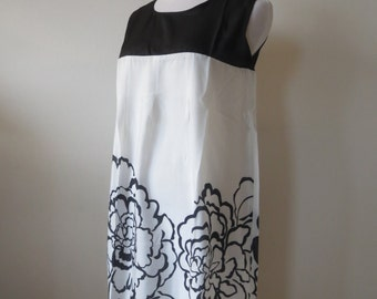Chiffon Floral  Dress Black & White Color