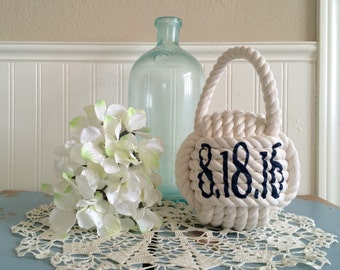 Nautical wedding table decor knots - wedding rope knot table decor - large monkey fist knots with stenciled numbers - table center piece